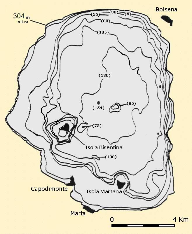 Carta batimetrica nautica del lago di Bolsena