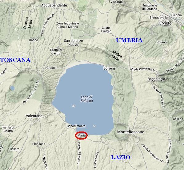 Come arrivare a Marta (VT) sul lago di Bolsena