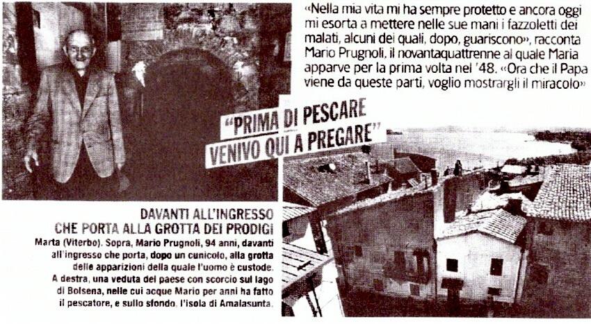 Grotta delle apparizioni di Marta, la Madonna della Grotta