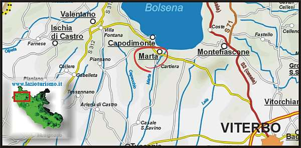 Cartina Geografica Di Viterbo E Provincia.Come Arrivare A Marta Vt Sul Lago Di Bolsena Meteo Marta It
