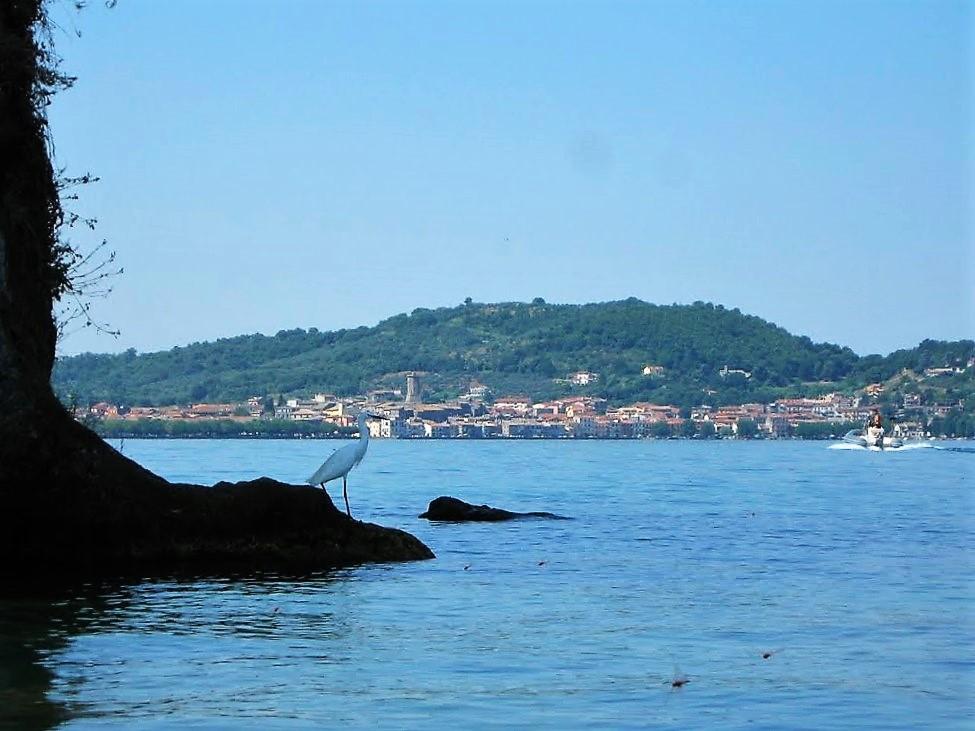 La cittadina di Marta sullo sfondo vista dall'isola Martana
