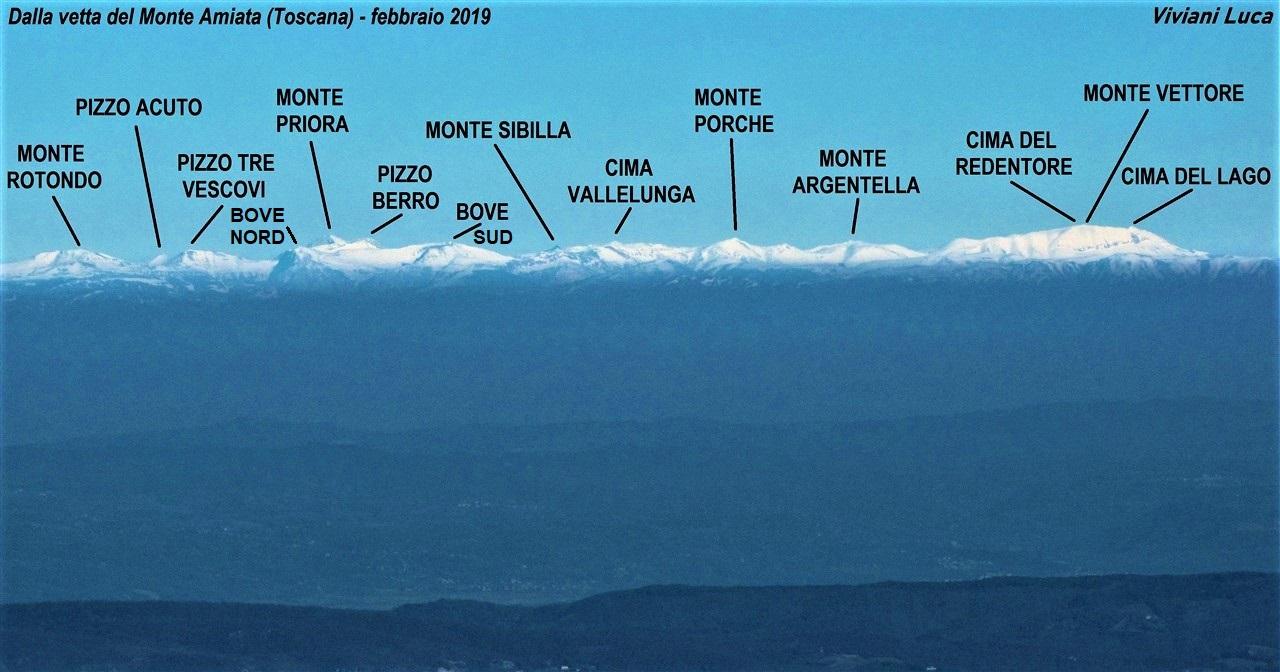 I monti Sibillini dal monte Amiata