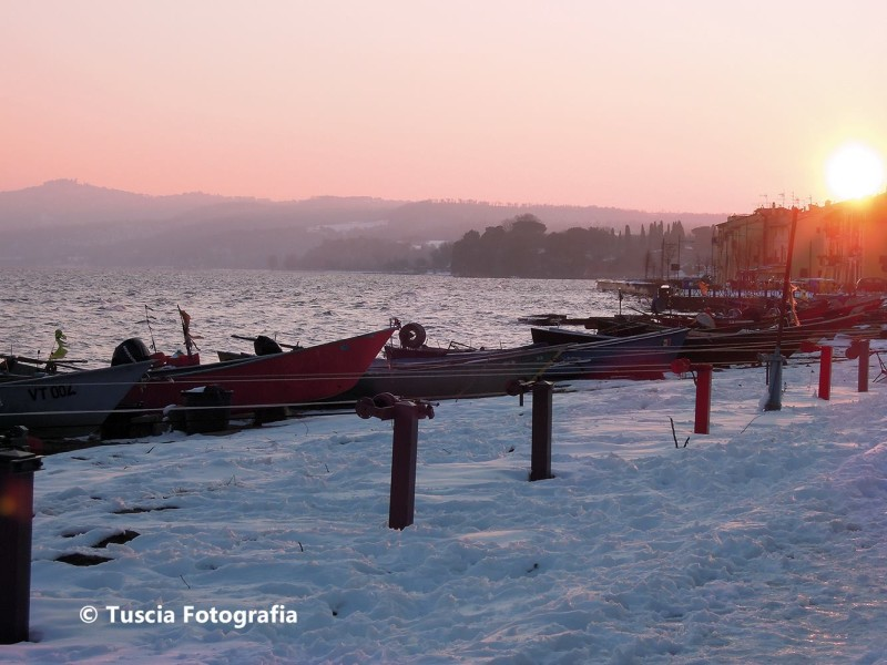 Neve a Marta sul lago di Bolsena